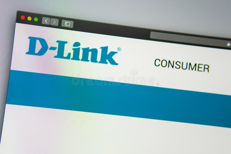 Homepage de la página web de la compañía de D-Link Ciérrese para arriba del logotipo de DLink fotografía de archivo libre de regalías