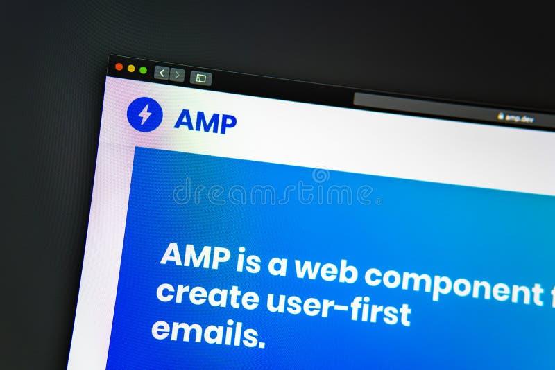 Homepage de la página web de la compañía del amperio Ciérrese para arriba de logotipo del amperio foto de archivo