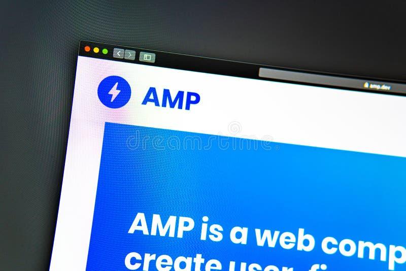 Homepage de la página web de la compañía del amperio Ciérrese para arriba de logotipo del amperio imagenes de archivo