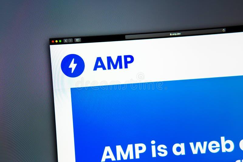 Homepage de la página web de la compañía del amperio Ciérrese para arriba de logotipo del amperio imagen de archivo libre de regalías