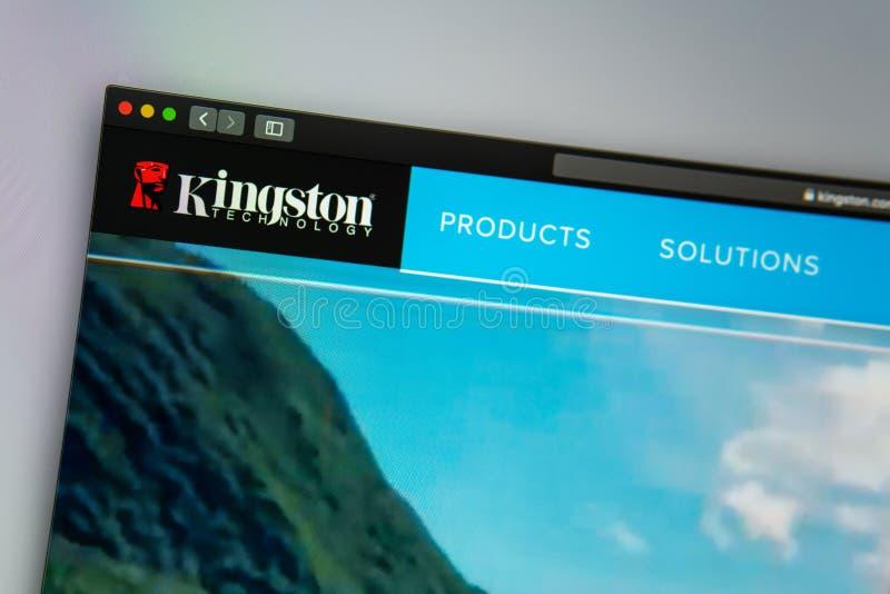 Homepage de la página web de la compañía de Kingston Ciérrese para arriba del logotipo de Kingston foto de archivo