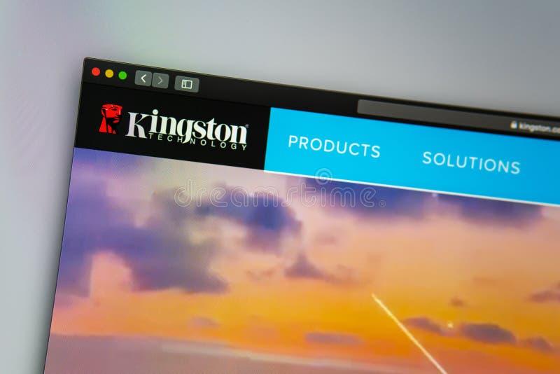 Homepage de la página web de la compañía de Kingston Ciérrese para arriba del logotipo de Kingston imagen de archivo