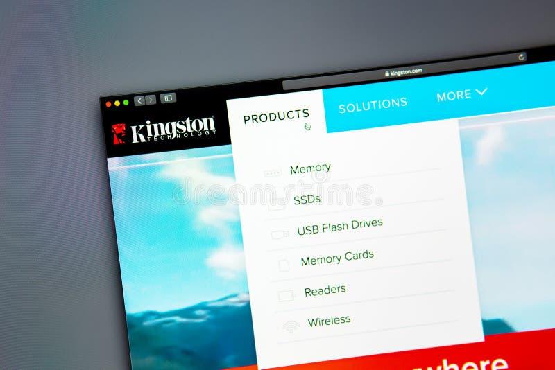 Homepage de la página web de la compañía de Kingston Ciérrese para arriba del logotipo de Kingston fotografía de archivo libre de regalías