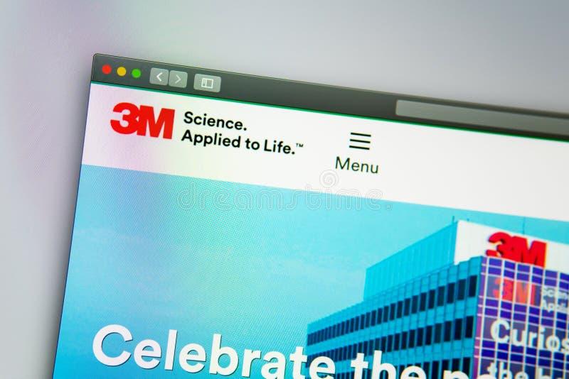 homepage de la página web de la compañía de 3M Ciérrese para arriba del logotipo de 3M fotografía de archivo