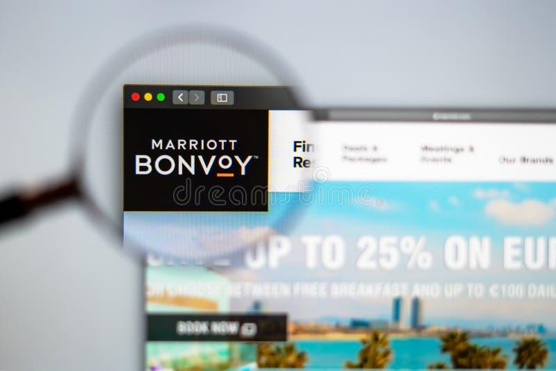 Homepage de la página web de la compañía de Marriot Ciérrese para arriba del logotipo de Marriot Corporation fotos de archivo