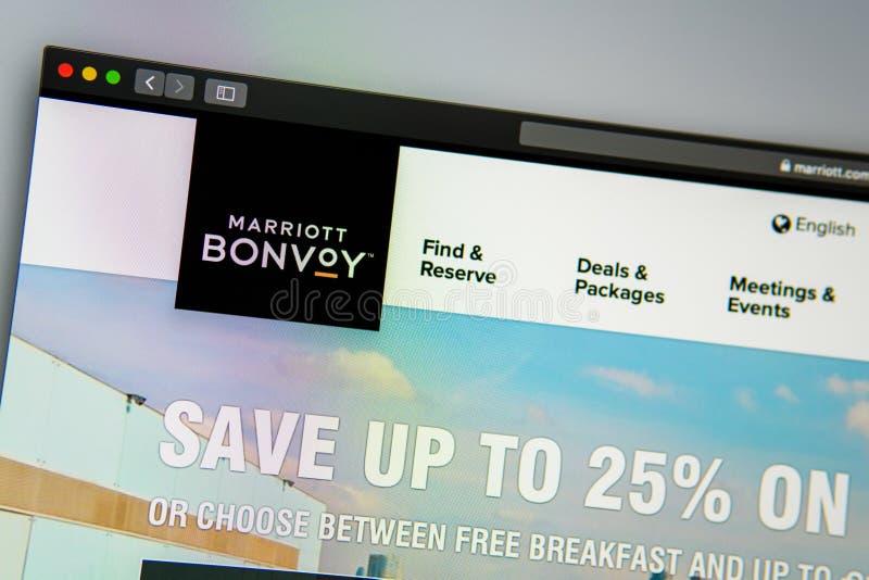 Homepage de la página web de la compañía de Marriot Ciérrese para arriba del logotipo de Marriot Corporation imágenes de archivo libres de regalías