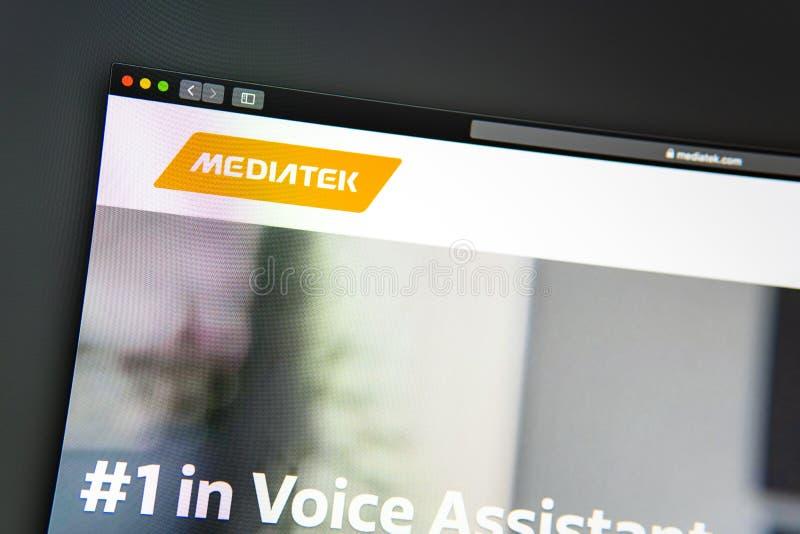 Homepage de la página web de la compañía de Mediatek Ciérrese para arriba del logotipo de Mediatek fotografía de archivo libre de regalías