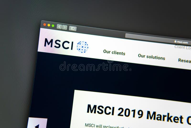 Homepage de la página web de la compañía de MSCI Ciérrese para arriba de logotipo de MSCI imagenes de archivo
