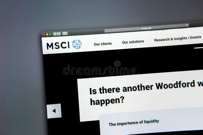 Homepage de la página web de la compañía de MSCI Ciérrese para arriba de logotipo de MSCI foto de archivo libre de regalías
