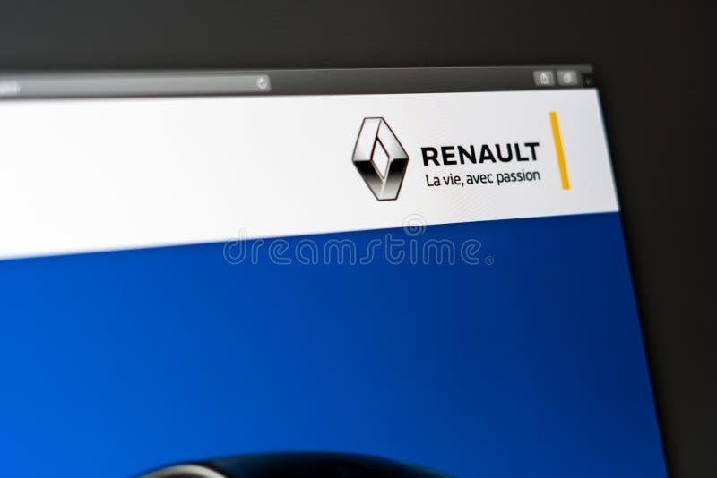 Homepage de la página web de la compañía de Renault Ciérrese para arriba del logotipo de Renault imágenes de archivo libres de regalías