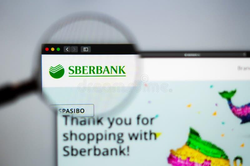 Homepage de la página web de la compañía de Sberbank Ciérrese para arriba del logotipo de Sberbank imagen de archivo libre de regalías