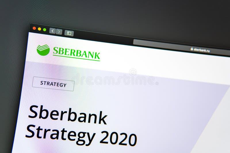Homepage de la página web de la compañía de Sberbank Ciérrese para arriba del logotipo de Sberbank imágenes de archivo libres de regalías