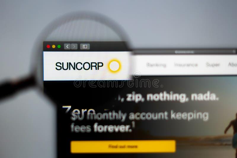 Homepage de la página web de la compañía de Suncorp Ciérrese para arriba del logotipo de SunCorp fotos de archivo libres de regalías