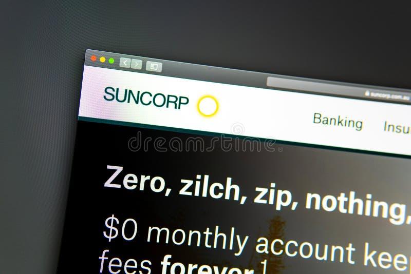 Homepage de la página web de la compañía de Suncorp Ciérrese para arriba del logotipo de SunCorp foto de archivo libre de regalías