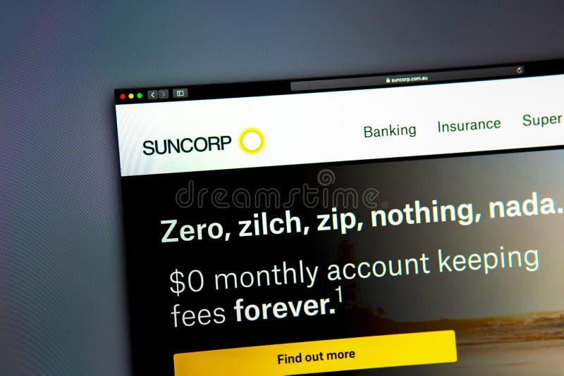 Homepage de la página web de la compañía de Suncorp Ciérrese para arriba del logotipo de SunCorp imagen de archivo