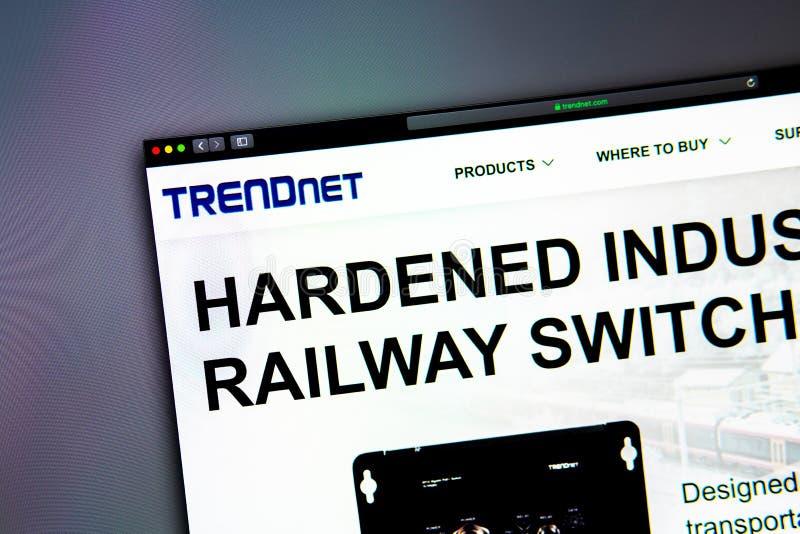Homepage de la página web de la compañía de TRENDnet Ciérrese para arriba del logotipo de Trendnet fotos de archivo libres de regalías