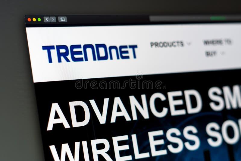 Homepage de la página web de la compañía de Trendnet Ciérrese para arriba del logotipo de Trendnet imagen de archivo libre de regalías