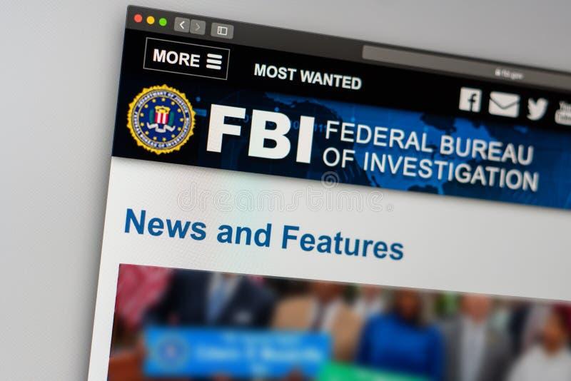 Homepage de la página web de la Oficina Federal de Investigación Ciérrese para arriba de logotipo del F.B.I. imagen de archivo