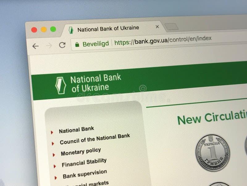 Homepage de National Bank de Ucrania foto de archivo