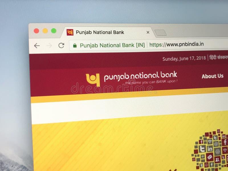 Homepage de Punjab National Bank fotografia de stock