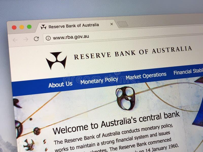 Homepage de Reserve Bank de Australia imagen de archivo