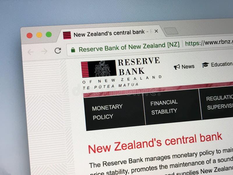 Homepage de Reserve Bank de Nueva Zelanda imagenes de archivo
