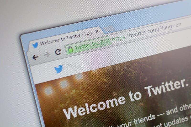 Homepage de Twitter com imagens de stock royalty free