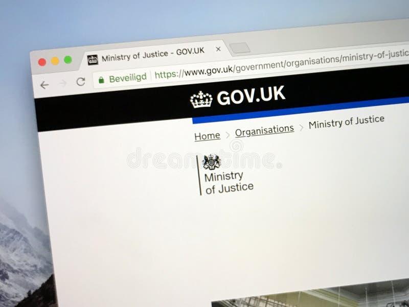 Homepage de U K Web site do governo o ministério de justiça imagens de stock
