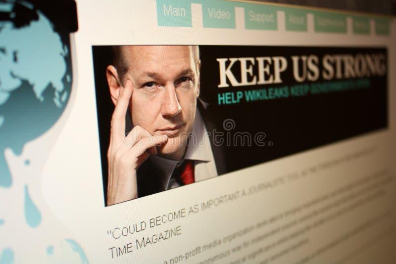 Homepage de WikiLeaks fotografia de stock royalty free