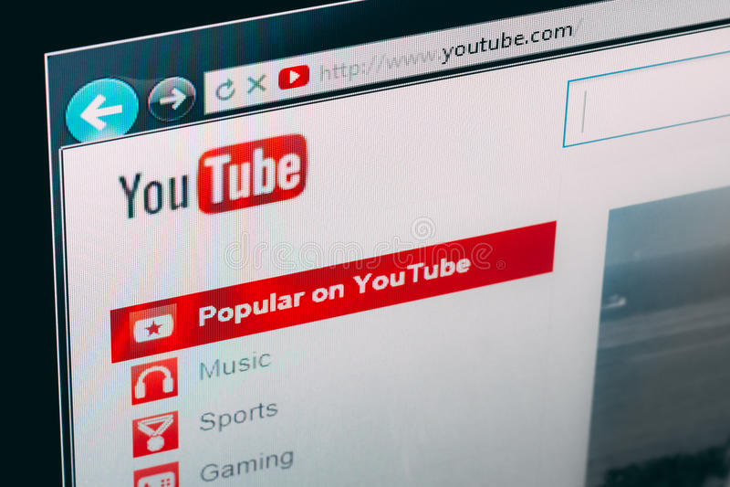 Homepage de YouTube imagens de stock