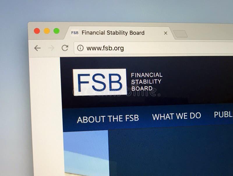 Homepage del bordo o Di FSB finanziario di stabilità immagine stock libera da diritti