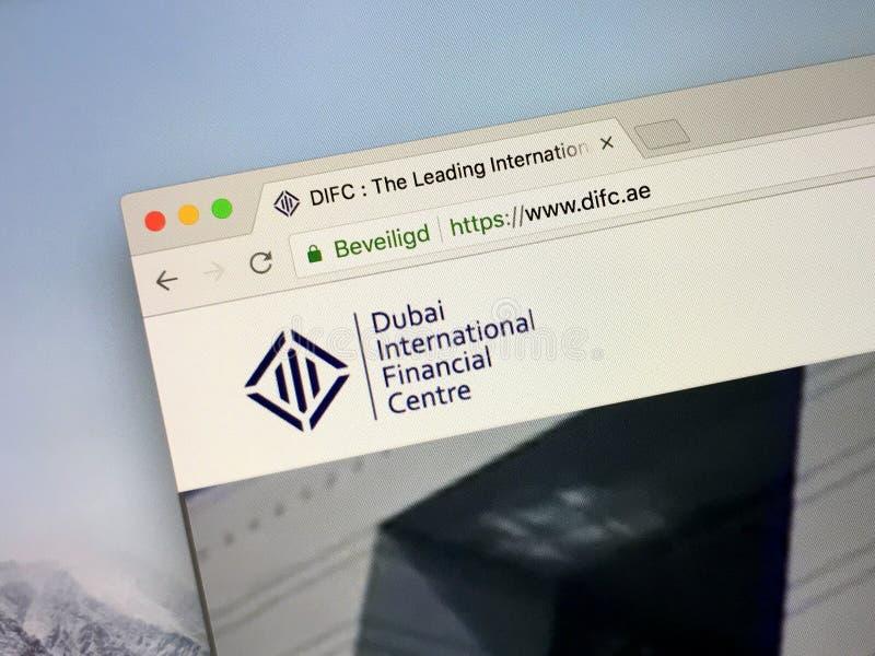 Homepage del centro finanziario DIFC di Dubai International immagini stock libere da diritti