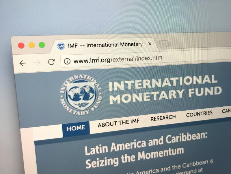 Homepage del Fondo Monetario Internacional - el FMI del funcionario fotografía de archivo