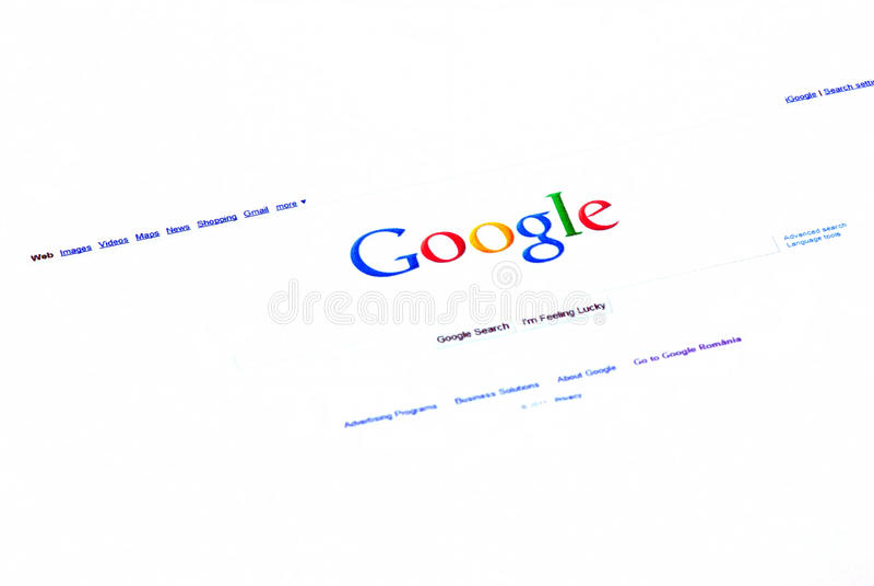 Homepage del searh de Google imagen de archivo