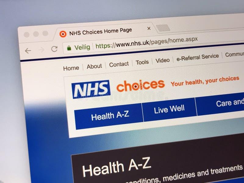 Homepage del Servicio Nacional de Salud - NHS imagen de archivo libre de regalías