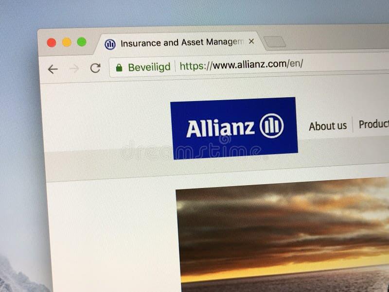 Homepage dell'Allianz immagini stock