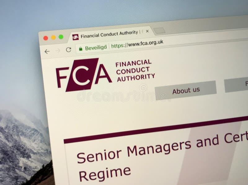 Homepage dell'autorità di comportamento o Del FCA finanziaria fotografia stock