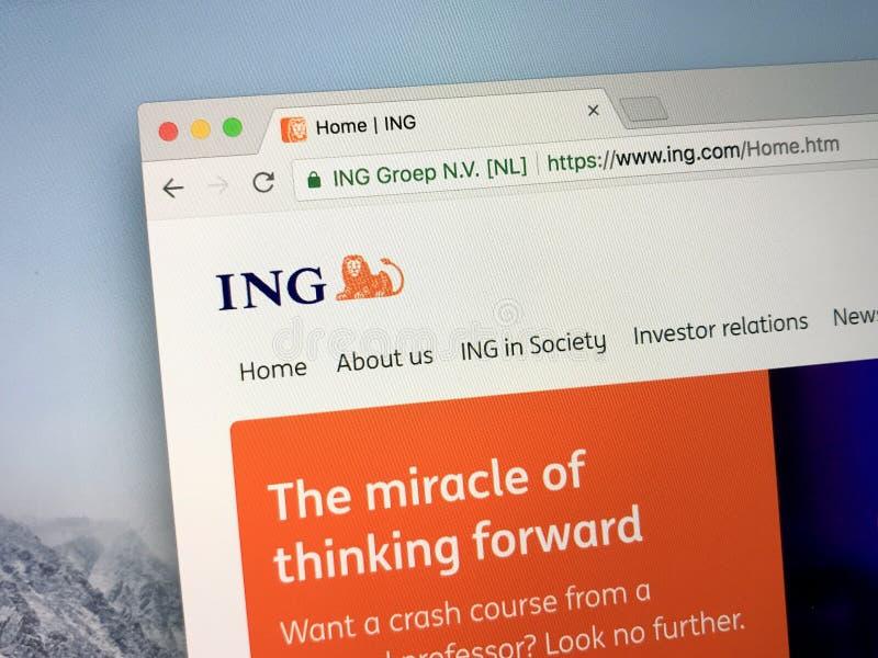 Homepage della Banca di ING, una multinazionale dell'olandese fotografie stock libere da diritti