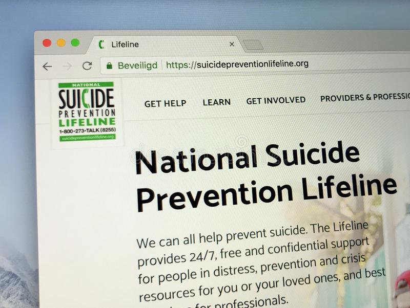 Homepage der amerikanischen nationalen Selbstmord-Verhinderungs-Rettungsleine stockbild