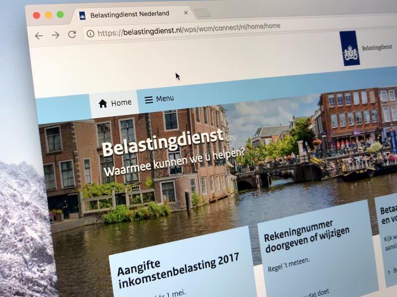 Homepage der niederländischen Steuer und der Zollverwaltung lizenzfreie stockbilder