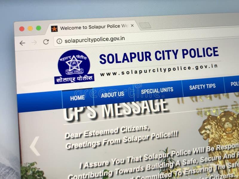Homepage der Solapur-Stadt-Polizei, Indien stockbild