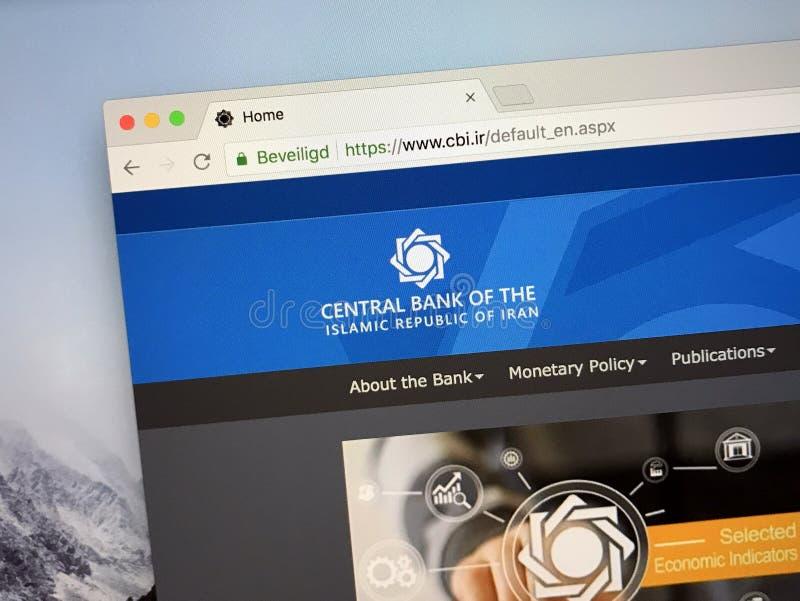 Homepage der Zentralbank vom Iran stockbilder