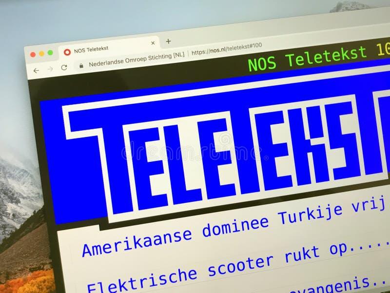 Homepage des niederländischen Teletextes lizenzfreie stockfotos