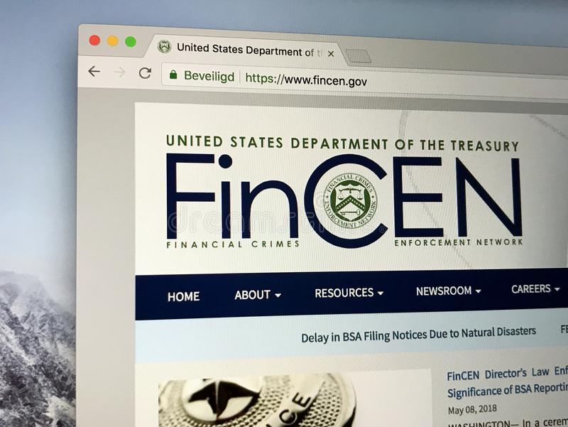 Homepage di U S La rete finanziaria di applicazione di crimini è un burea fotografie stock libere da diritti