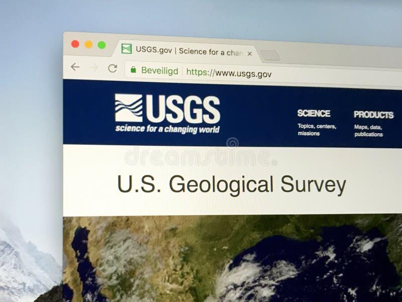 Homepage do estudo geológico USGS do Estados Unidos imagens de stock