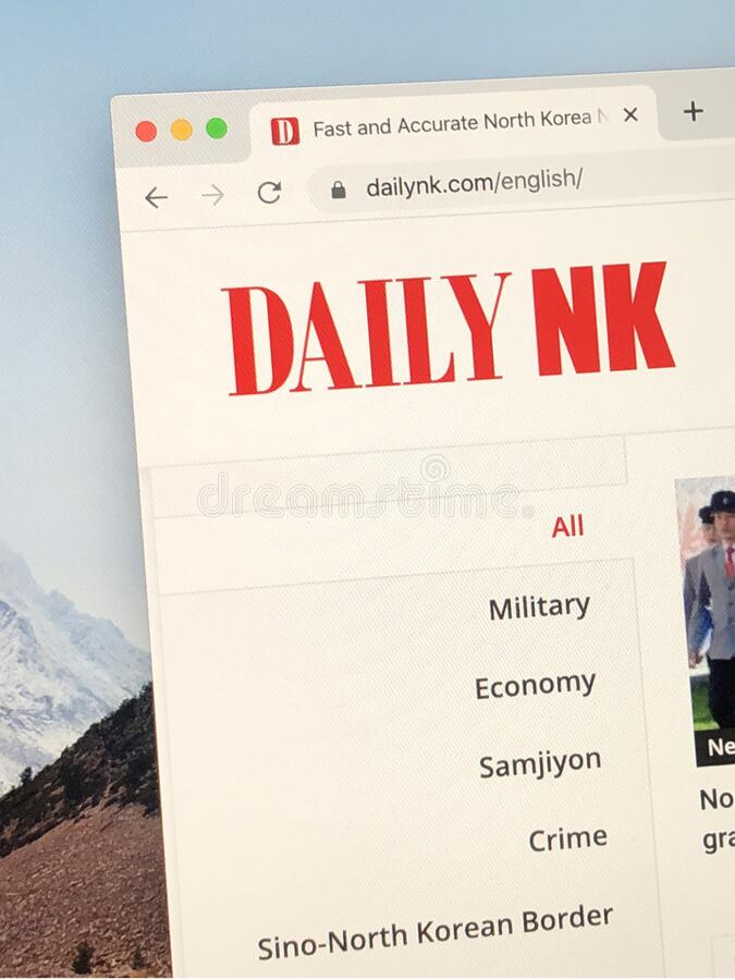 Homepage do Daily NK foto de stock