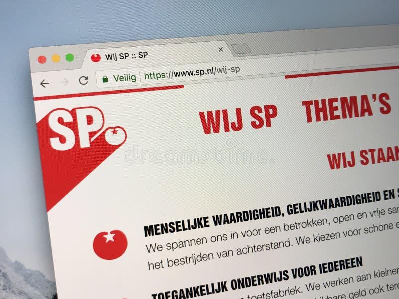 Homepage do Partido socialista holandês - SP fotografia de stock royalty free
