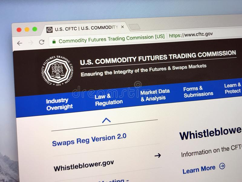 Homepage do U S Commodity Futures Trading Commission - CFTC imagens de stock