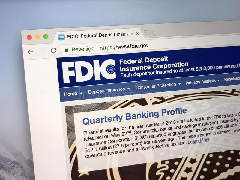 Homepage do U S Federal Deposit Insurance Corporation - FDIC imagens de stock