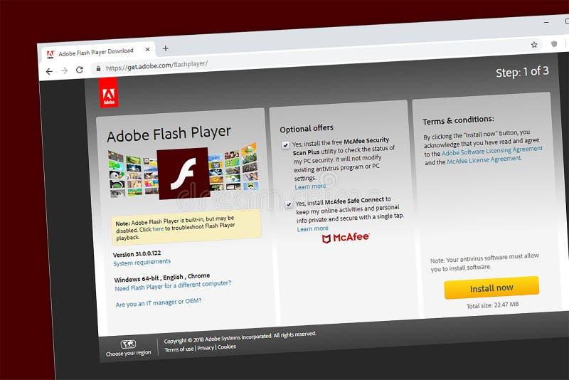 Homepage do Web site do Adobe Flash Player ilustração stock